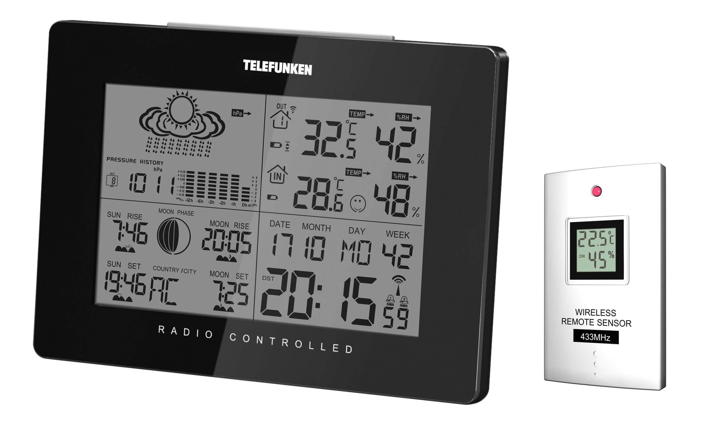 Stacja pogodowa Telefunken FWS-400-B czarna
