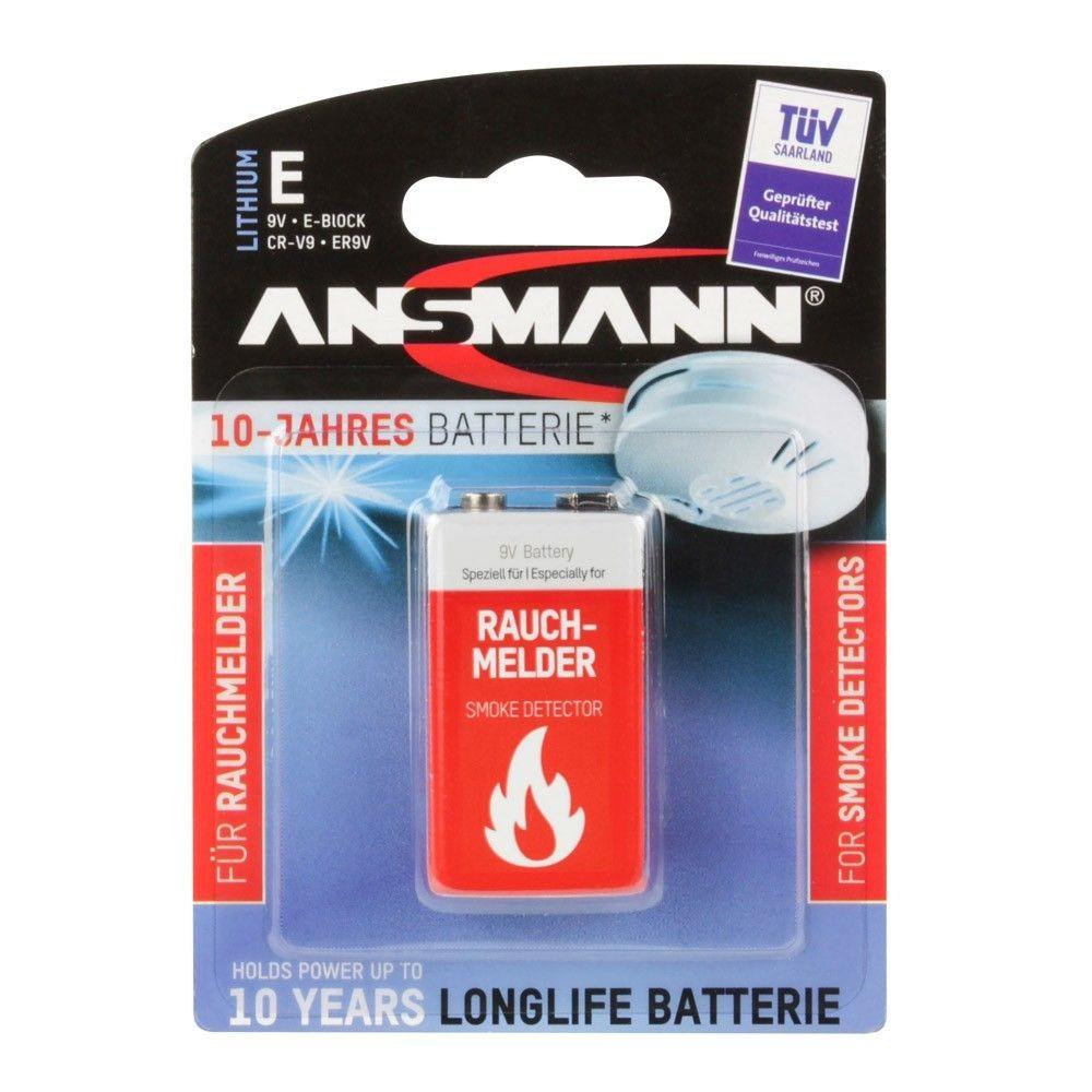 Bateria litowa ANSMANN 1x 9V E-Block do czujników dymu