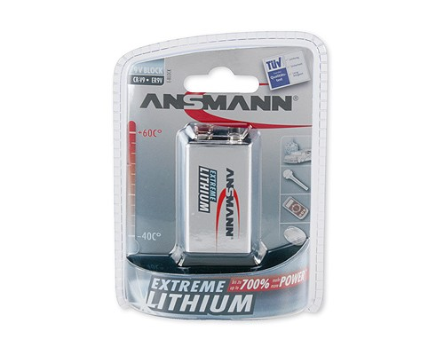 Bateria litowa ANSMANN Extreme Lithium 1xE-Block (9V)