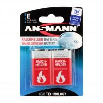 Bateria alkaliczna ANSMANN 2x 9V Block do czujników dymu